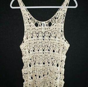 Ivory crocheted sleeveless top